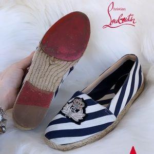 Christian Louboutin Gala Navy Stripe Espadrilles